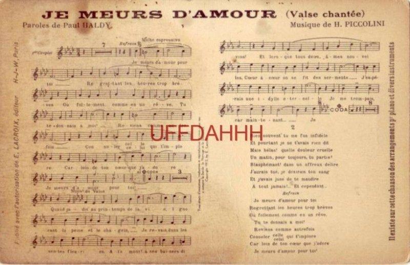 JE MEURS D'AMOUR (Valse chantee) Paroles de PAUL HALDY Musique de H. PICCOLINI