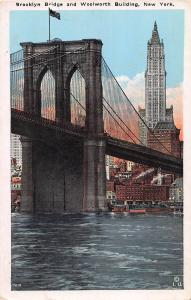 Brooklyn Bridge and Woolworth Building, New York, Early Postcard, Unused