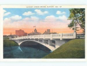 Unused Linen BRIDGE SCENE Elkhart Indiana IN d4033