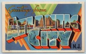 Postcard NJ Large Letter Greetings From Atlantic City New Jersey Linen P2
