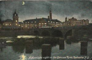 Moonlight over Genesee River, Rochester, New York - pm 1910 - DB