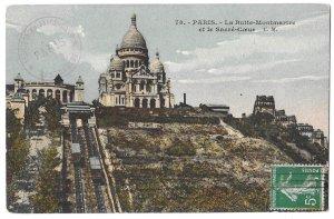 Paris to Lille, France 1914 Postcard La Butte Montmartre et le Sacre Coeur