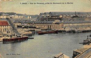 France Brest Vue de l'Arsenal Prise du Boulevard de la Marine Boats Postcard