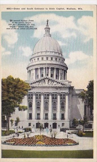 Wisconsin Madison Dome And South Entrance To State Capitol