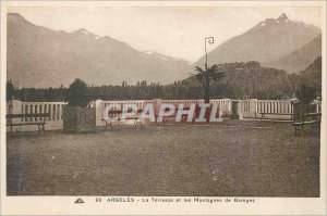 Old Postcard Argeles Gazost the terrace and bareges mountains