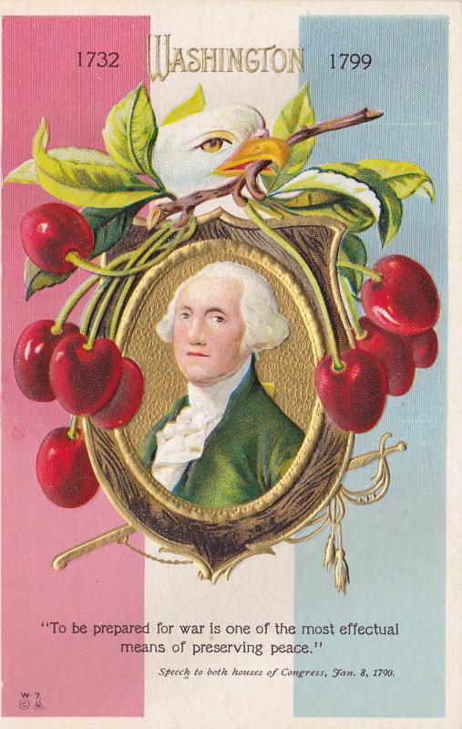 George Washington portrait, cherries and eagle head, 10-20s