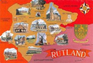 Map Postcard of RUTLAND, Oakham, Seaton, Empingham, Exton, Uppingham, Wing AU2