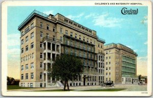 Cleveland, Ohio Postcard Children's and Maternity Hospital Street View c1930s