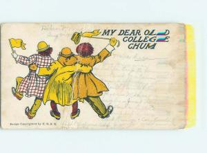 Bent Pre-1907 comic MY DEAR OLD COLLEGE CHUM - ARM IN ARM HQ8423