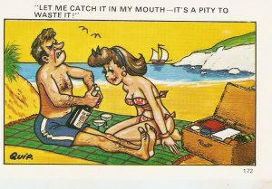 Let me catch it in my mouth... Humorous saucy Eglish PC 1950s