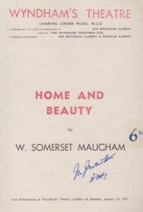 Home & Beauty Drama M Somerset Maugham Wyndhams London Theatre Programme