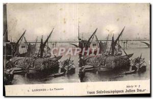 Stereoscopic Card - London - London - The Thames - Julien Damoy - Old Postcard