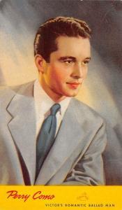Perry Como~Crooner~RCA Victor's Romantic Ballad Man~Portrait~1942 Ad Postcard