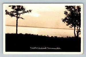 RPPC of Roscommon MI-Michigan, Houghton Lake Sunset Postcard