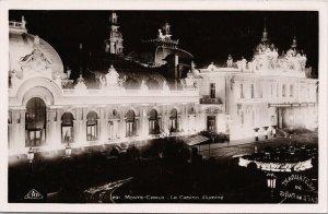 Monte Carlo Le Casino Illumine Unused CAP Strasbourg RPPC Postcard F78