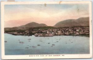 1921 Bar Harbor, Maine Postcard Bird's-Eye View HAND-COLORED Albertype