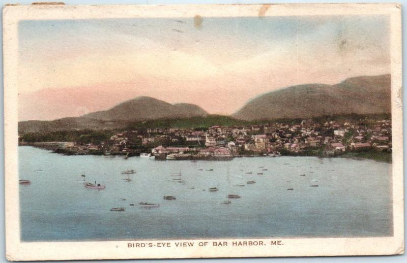 1921 Bar Harbor, Maine Postcard Bird's-Eye View HAND-COLORED Albertype