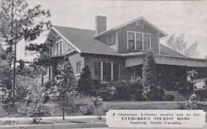 Evergreen Tourist Home, Sanford, North Carolina, 1930-1940s