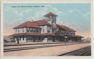 Oklahoma OK Postcard SAPULPA c1910 DEPOT & HARVEY HOUSE Railroad Station 2