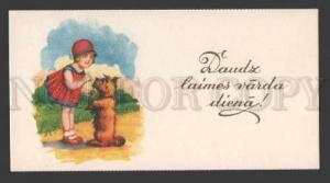 112556 SCOTTISH TERRIER Puppy & Girl CIRCUS vintage little PC