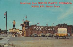 North Platte NE 1956 Ford Fairlane~Lookouts in Tower~Cowboy w/Gun Sign~Fort Cody