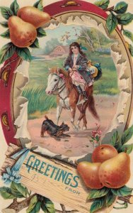 Girl on Horse & Scottie Dog Greetings , 00-10s