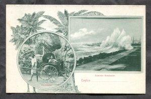 dc351 - COLOMBO Ceylon Sri Lanka c1905-08 Ricksha & Breakwater