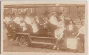 Ohio Real Photo RPPC Postcard c1910 CLEVELAND Public Square SIGHT SEEING BUS