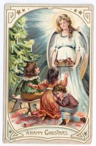 Vintage Christmas Postcard Angel Treats for Children 1907 Raphael Tuck Embossed