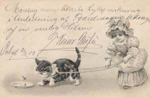 Little Red Riding Hood Style Old French Cat On Lead Doll 1903 Postcard