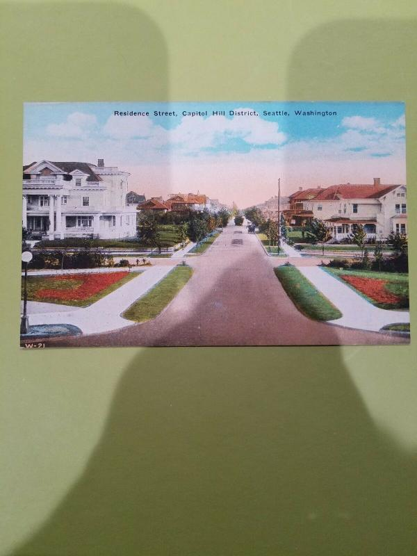 Antique Postcard, Residence Street, Capitol Hill District, Seattle, Washington