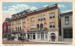 Hotel Langley, Hampton, Virginia, Early Postcard, Unused
