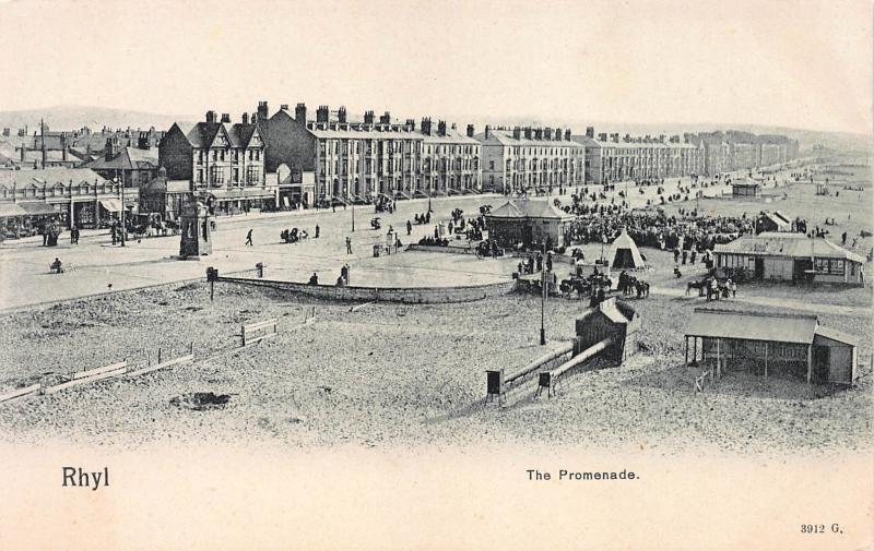 The Promenade, Rhyl, Wales, Great Britain, Very Early Postcard, Unused