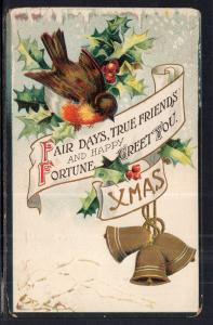 Christmas Bells Bird Holly BIN