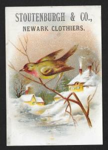 VICTORIAN TRADE CARD Stoutenburgh & Co Clothiers Bird on Twig Winter View