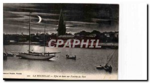 Old Postcard La Rochelle moon effect on the entrance of Port Boat