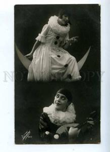 198374 Circus PIERROT Pierrette on MOON Mandolin Vintage PHOTO