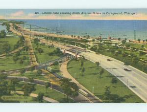 Unused Linen LINCOLN PARK SCENE Chicago Illinois IL r8382
