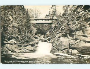 1952 rppc POOL AND SENTINEL PINE BRIDGE Franconia New Hampshire NH t2209