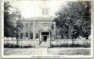 Okmulgee, Oklahoma Postcard CREEK COUNCIL BUILDING Indian Territory c1910s