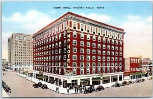 Wichita Falls, Texas Postcard KEMP HOTEL Street View KROPP Linen c1940s Unused