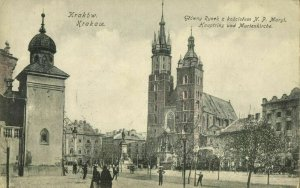 poland, KRAKOW CRACOW, Główny Rynek z Kościółem N.P. Maryi (1907) Postcard