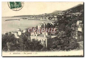 Old Postcard Menton Vue Generale