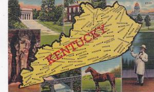 Map Of Kentucky 1958