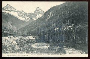 h2250 - GLACIER BC Postcard 1910s Train in Loop by Trueman