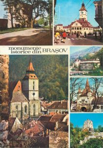 Postcard Romania Brasov historical monuments different sites