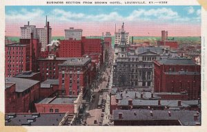 LOUISVILLE, Kentucky, 1930-1940s; Business Section From Brown Hotel