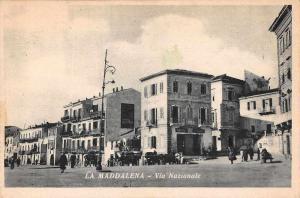 La Maddalena Italy Via Nazionale Street Scene Vintage Postcard JD933838
