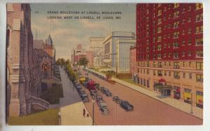 P1151 vintage unused postcard scene many old cars etc lindett st st louis mo.