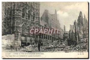 Old Postcard Louvain L & # 39Hotel Town And The Cathedral Bornbardees Army